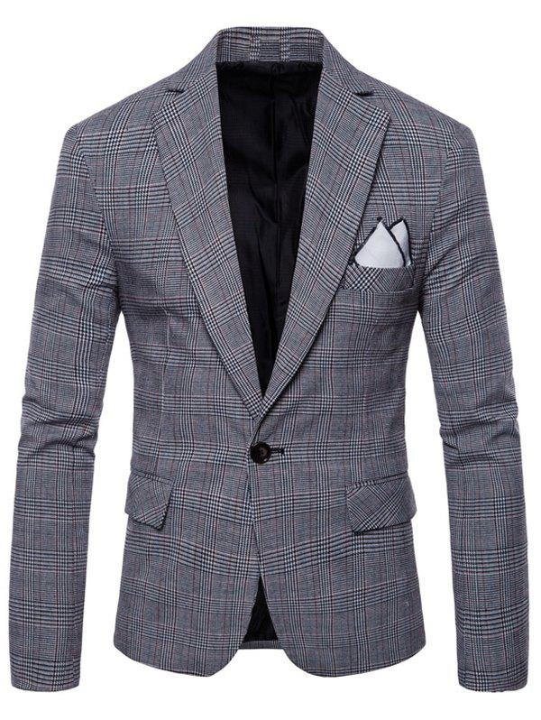 Affordable Check Lapel One Button Blazer