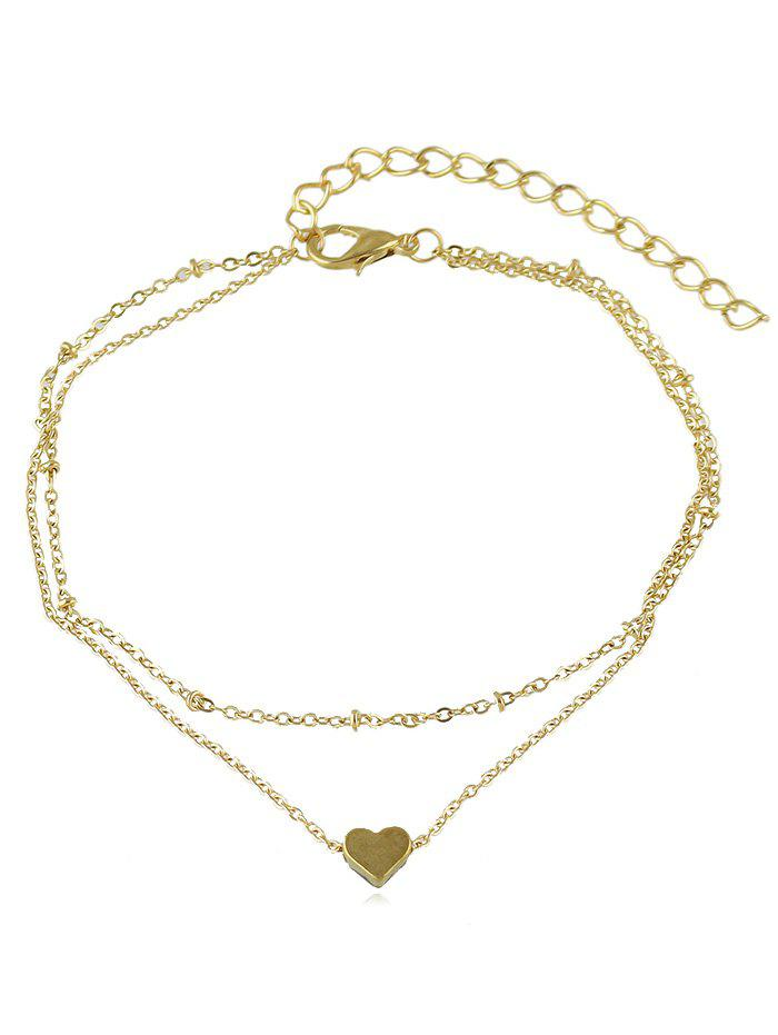 Shop Heart Shaped Layered Chain Anklet