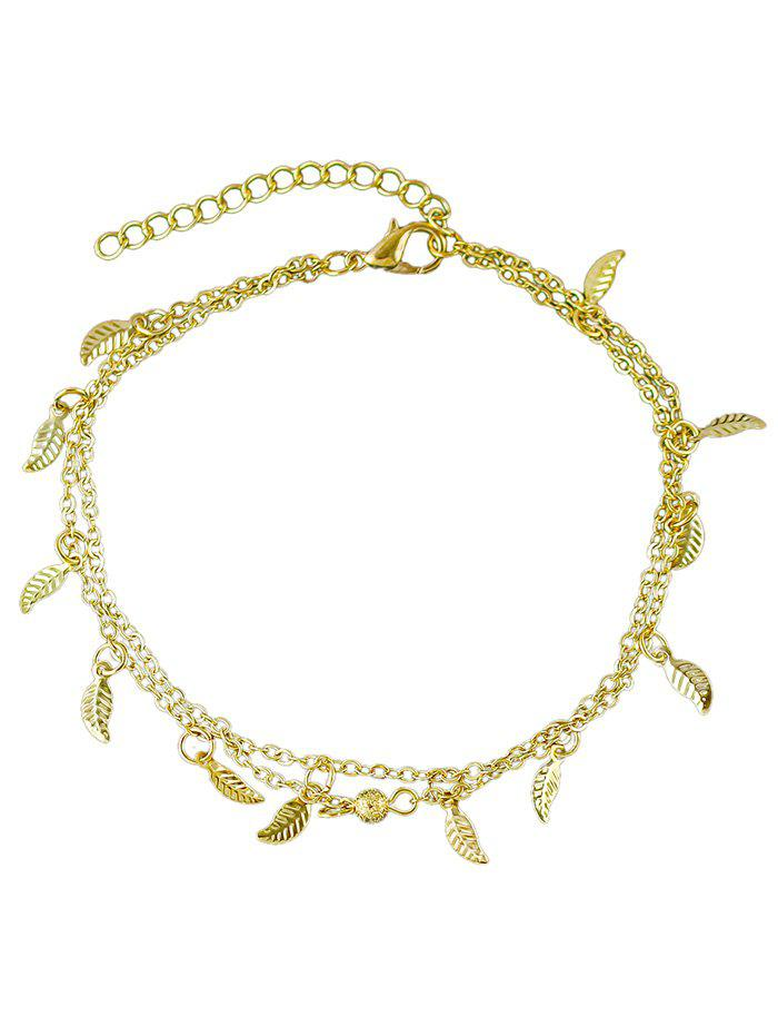 Cheap Leaves Decoration Layered Chain Anklet