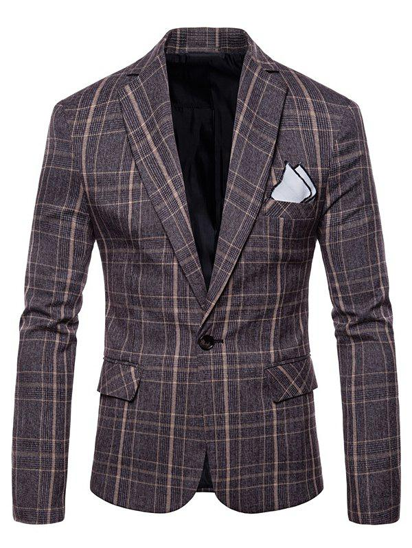 New Lapel One Button Plaid Blazer