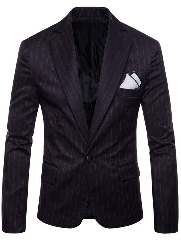 Online One Button Lapel Stripe Blazer