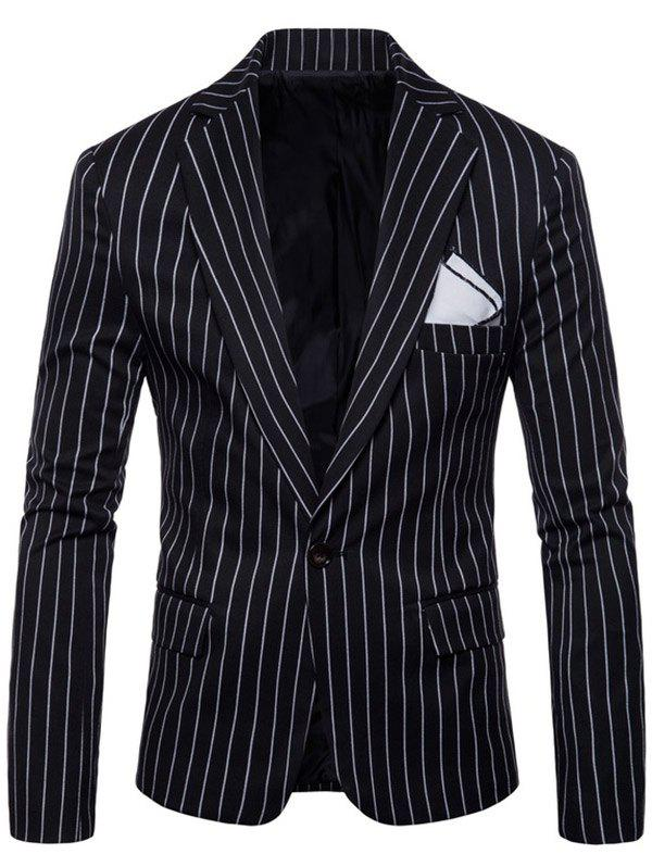 Hot One Button Lapel Stripe Blazer