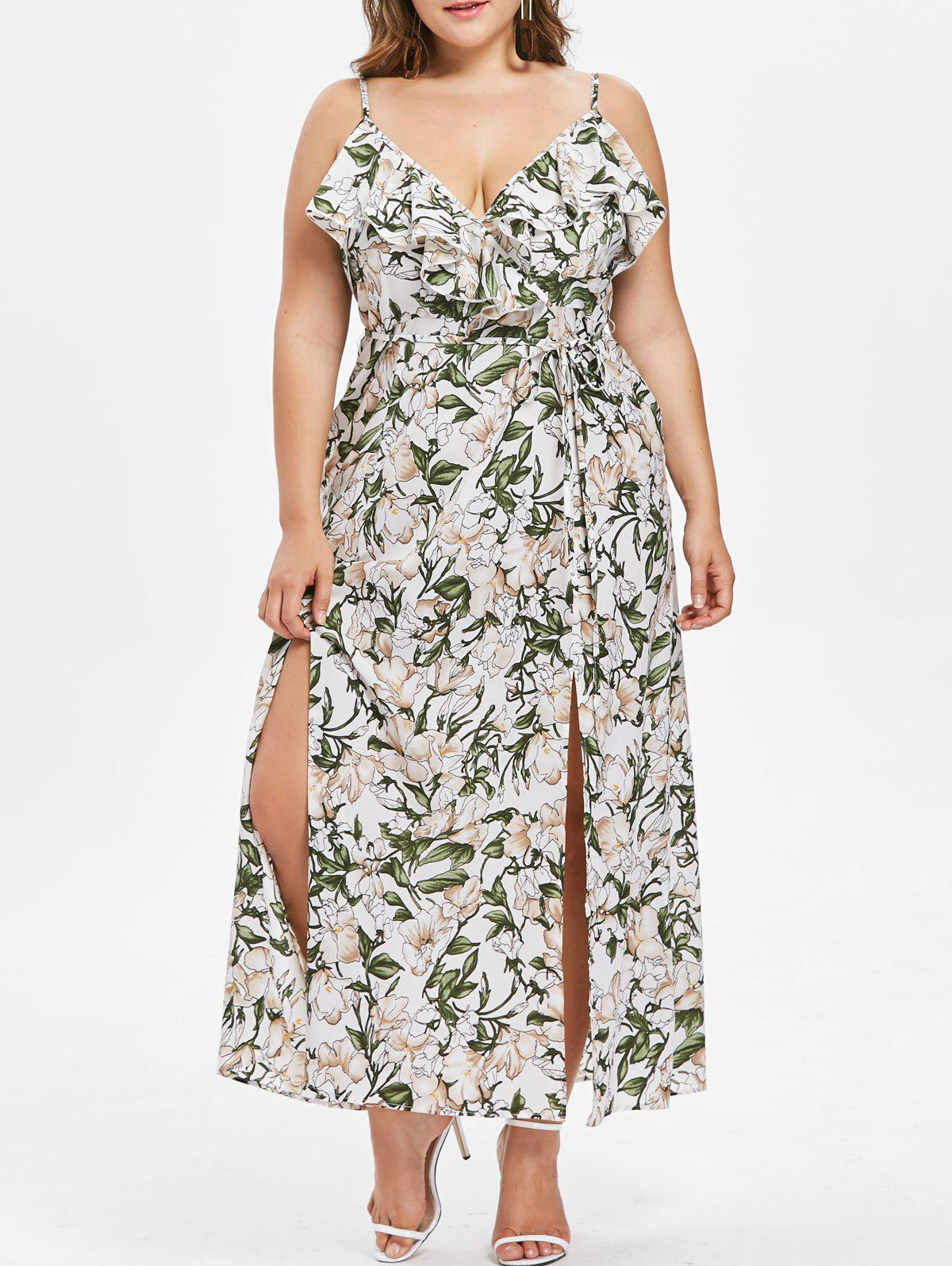 Outfits Plus Size Ruffled High Slit Floral Maxi Dress