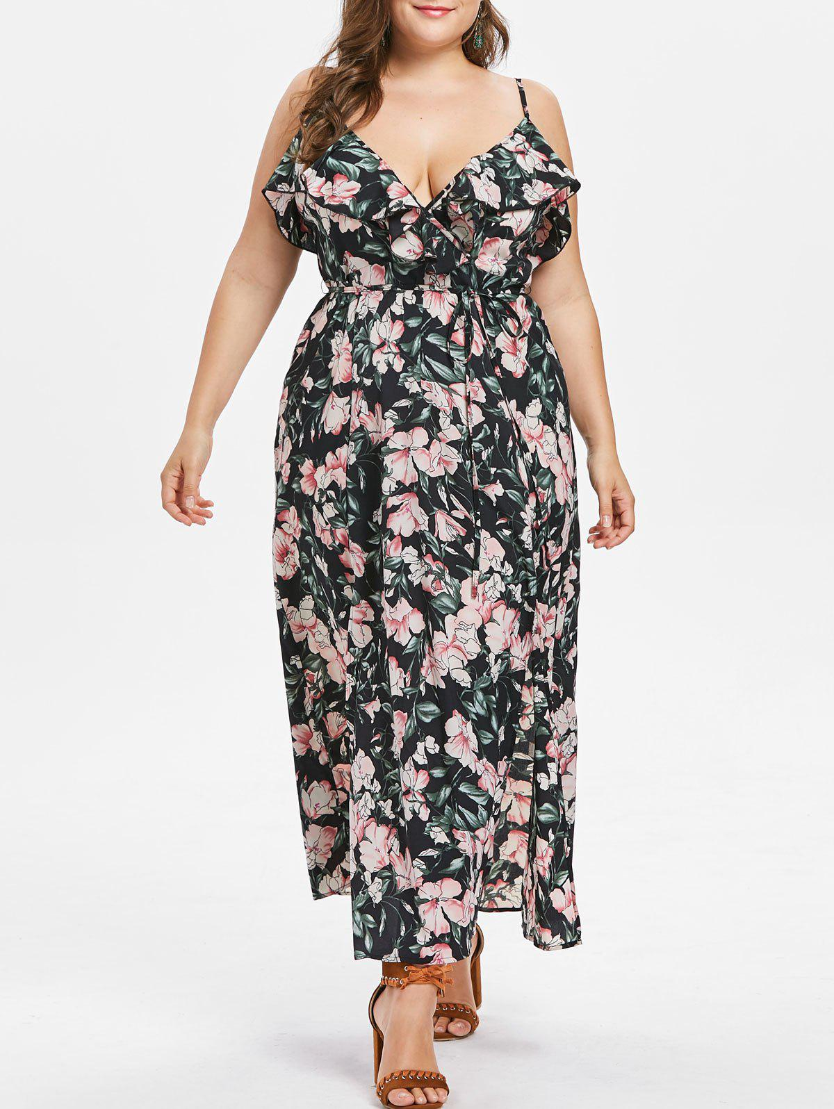 Store Plus Size Ruffled High Slit Floral Maxi Dress