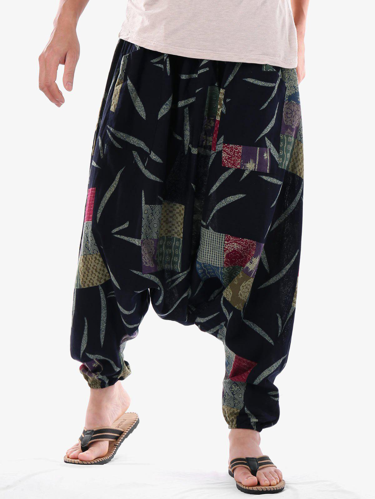 Latest Casual Geometric Leaves Print Harem Pants