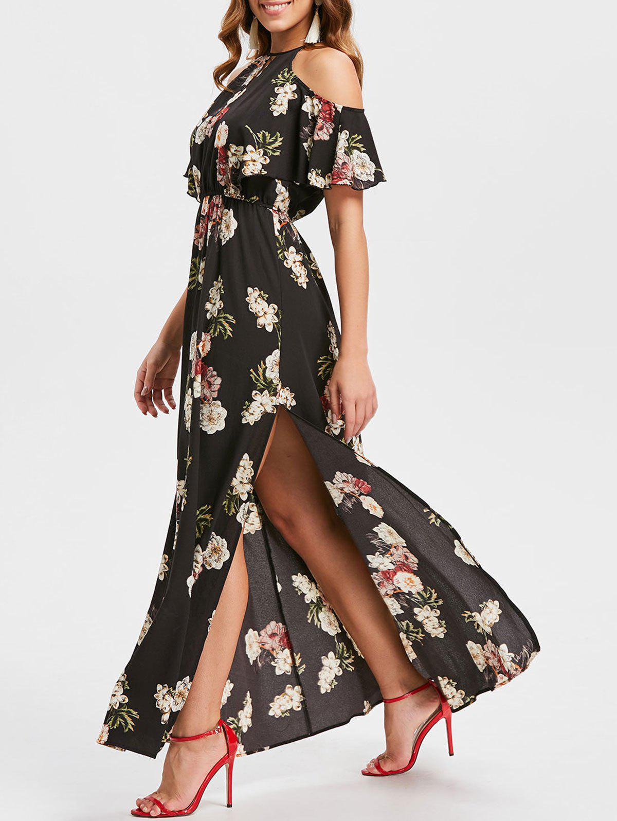 Unique Floral Print Cold Shoulder Maxi Dress