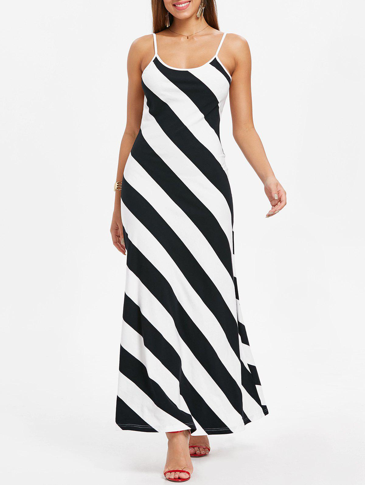 Unique Open Back Striped Dress