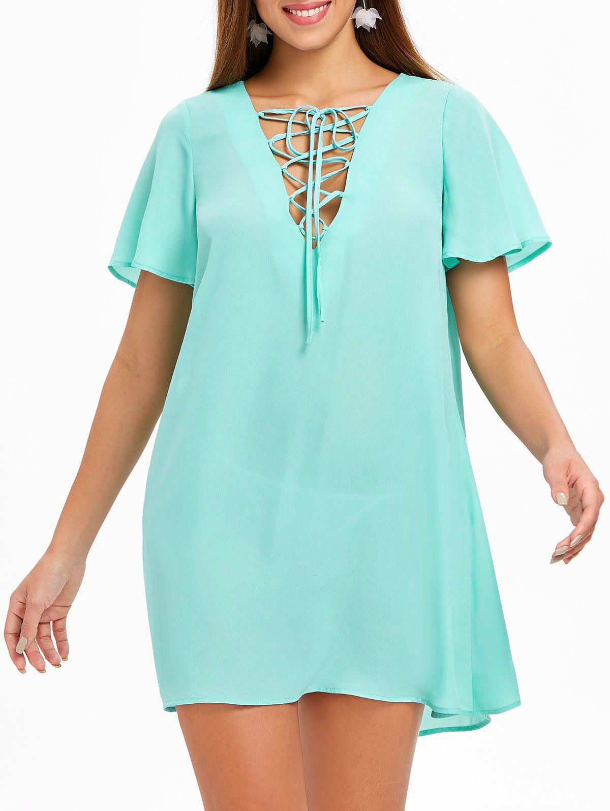 Best Lace Up Chiffon Mini Dress