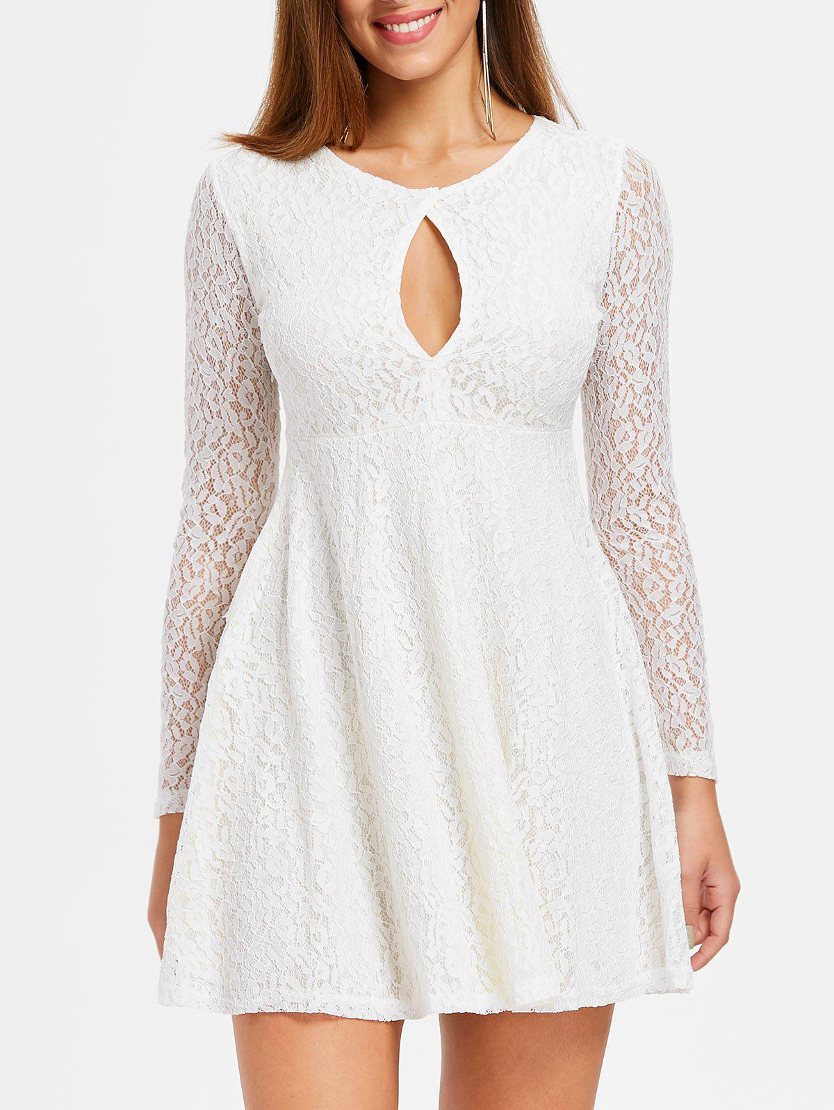 Outfits Keyhole Lace Skater Dress