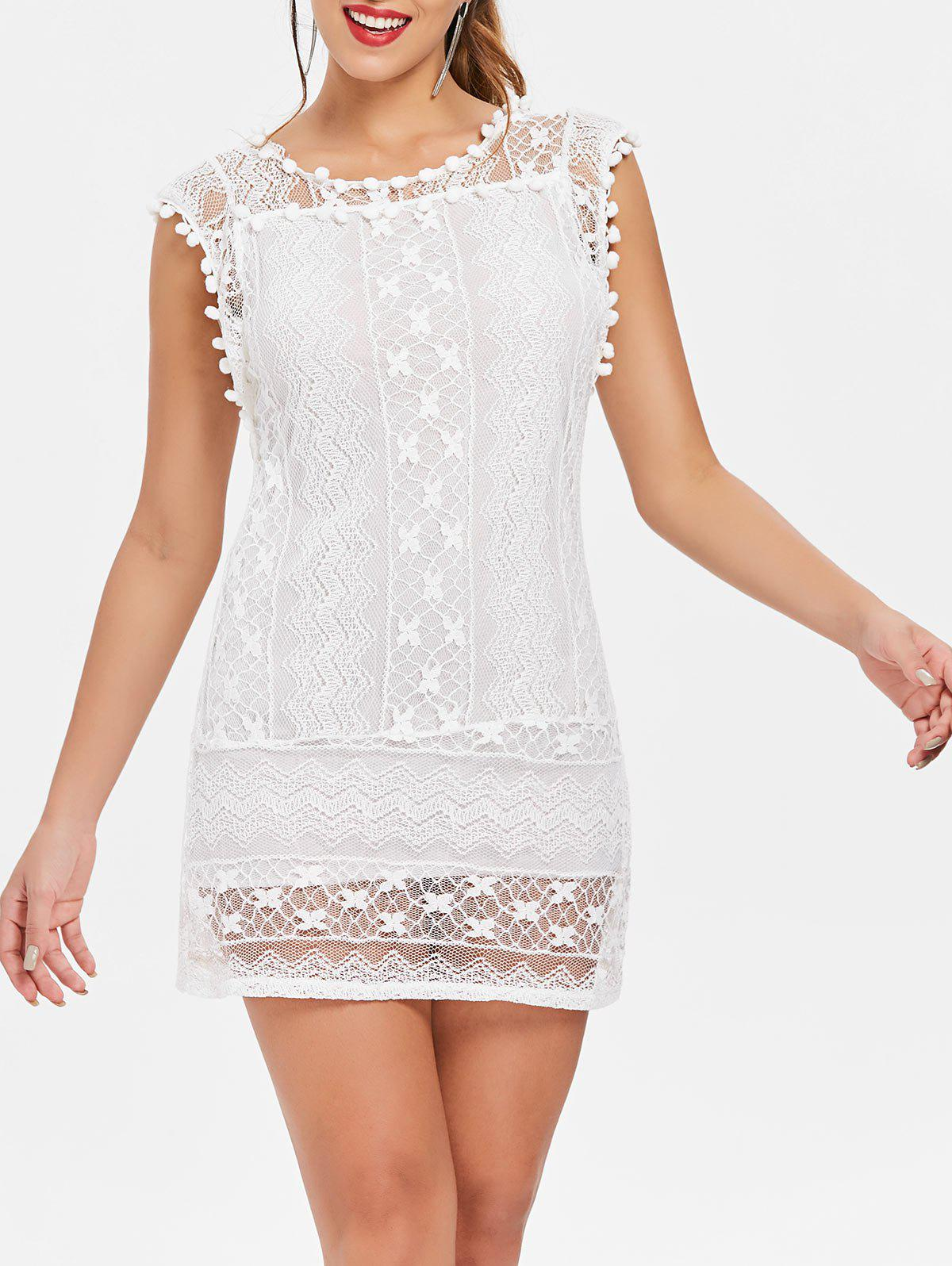 Discount Scoop Collar Sleeveless See-Through Crochet Tunic
