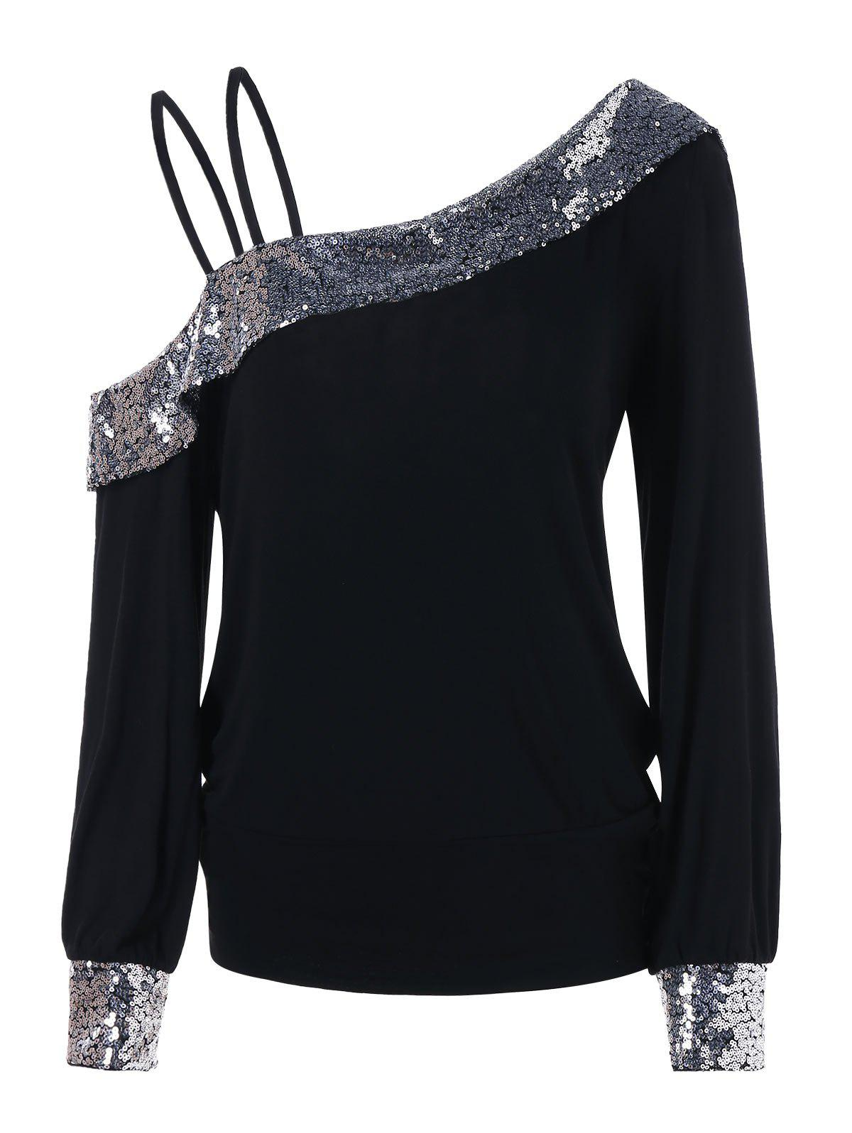 Store Cold Shoulder Sequin Panel Tee