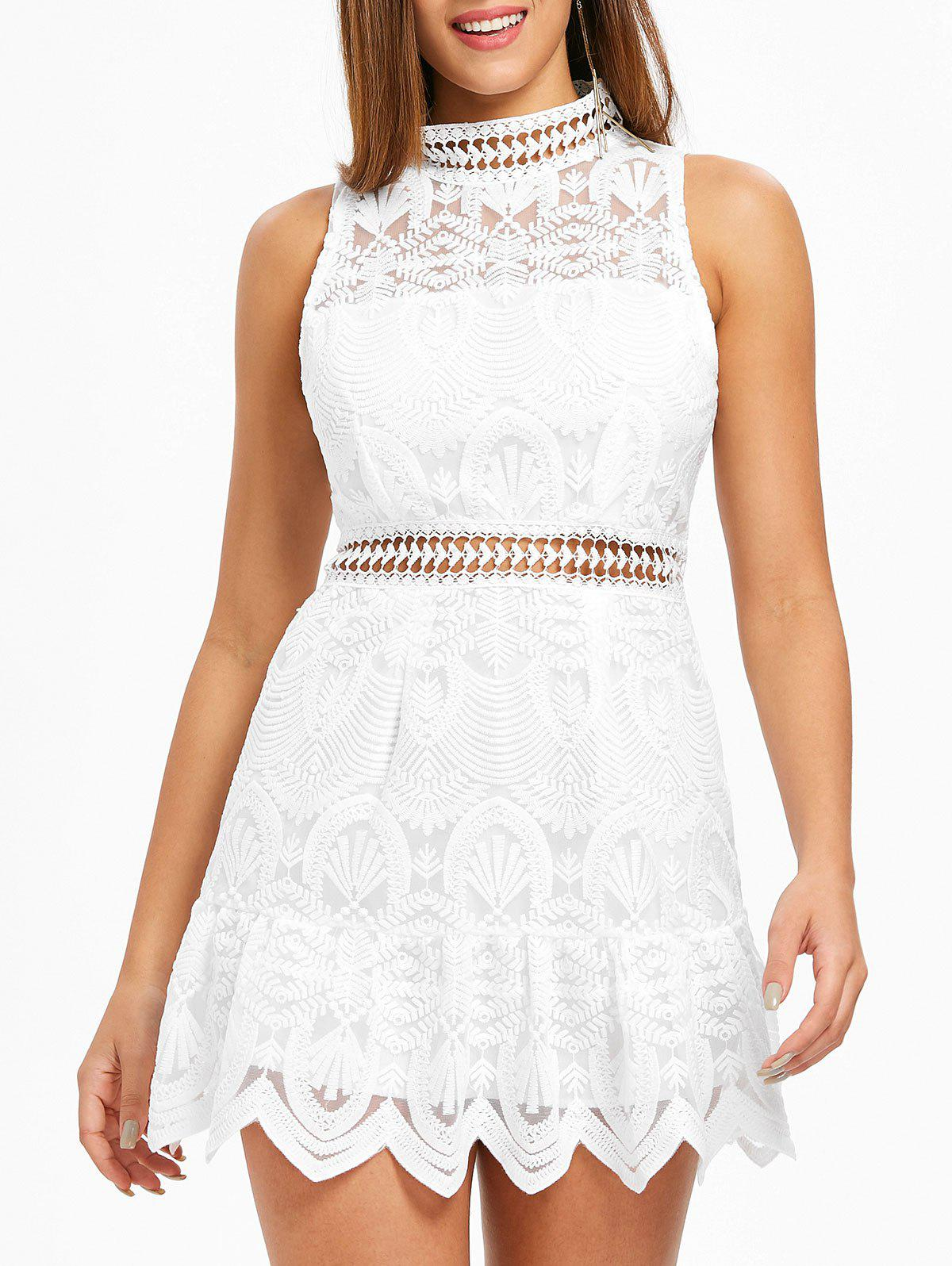 Fashion Ruffle Hemline Back Cut Out Lace Dress