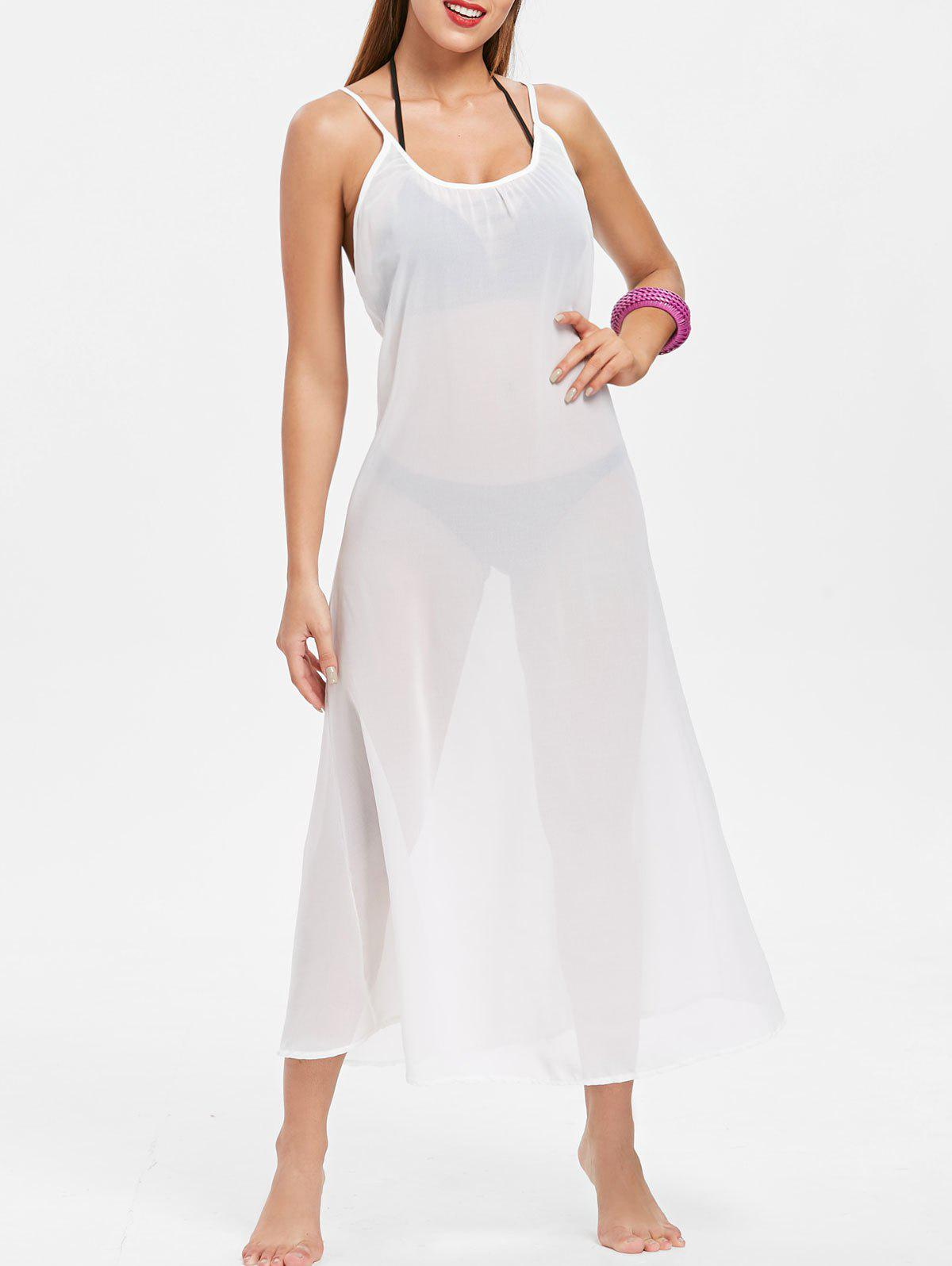 Discount Sexy Style Spaghetti Strap Sleeveless Cross-Back White Maxi Dress For Women