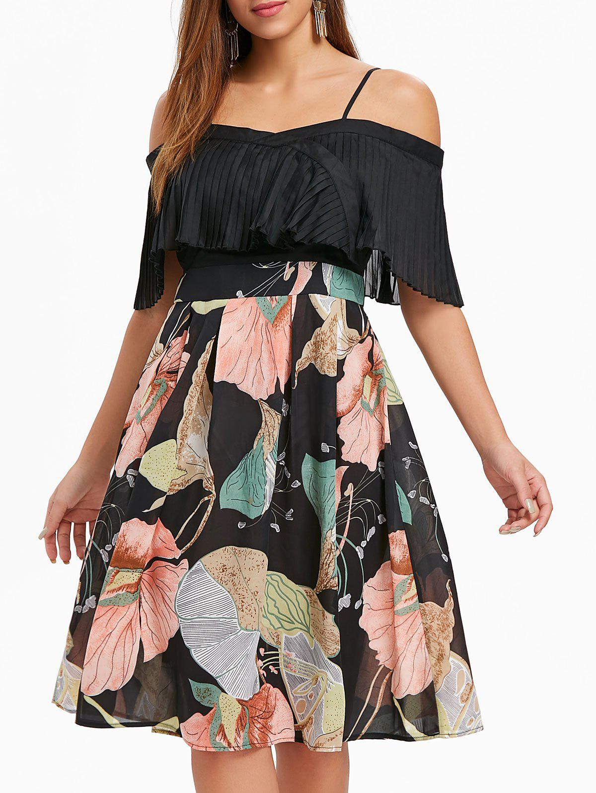 Best Print Panel Pleated Flounce Dress