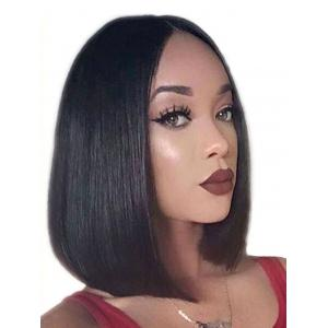 Short Center Parting Straight Bob Synthetic Lace Front Wig -