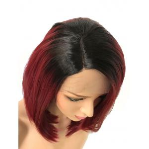 Medium Side Parting Ombre Straight Bob Lace Front Synthetic Wig -