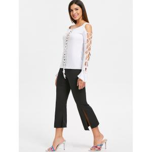 Lace Insert Lace Up Top -