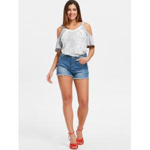 Frayed Brim Mini Jean Shorts -