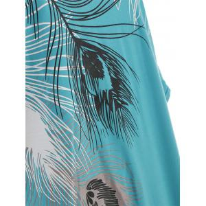 Cut Out Peacock Feather Print T-shirt -