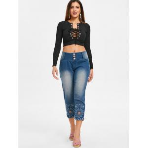 Embroidery Scalloped Jeans -