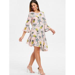 Flare Sleeve Flounce Pineapple Print Shift Dress -