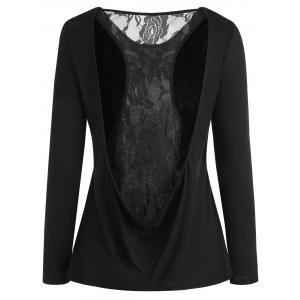 Long Sleeve Racerback Lace Insert Top -