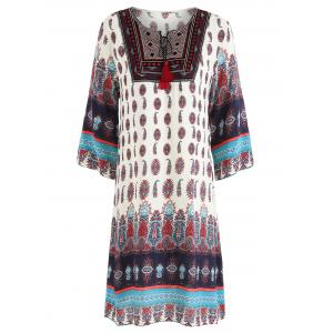 Tribal Print Embroidered Dress -