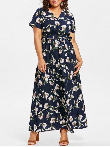 Store Plus Size Flower Surplice Maxi Dress