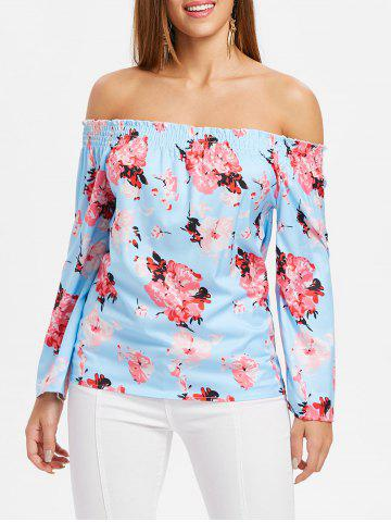 Fashion Floral Print Off The Shoulder Blouse