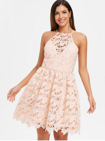 Bib Neck Lace Skater Dress