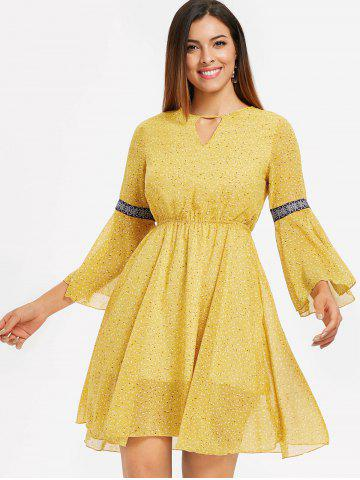 Open Back Flare Sleeve Print Dress