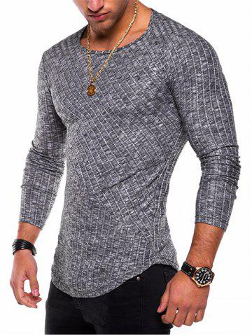 Affordable Long Sleeve Curved Hem Rib Patchwork Tee