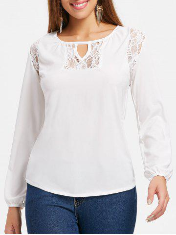 Affordable Lace Panel Keyhole Neck T-shirt