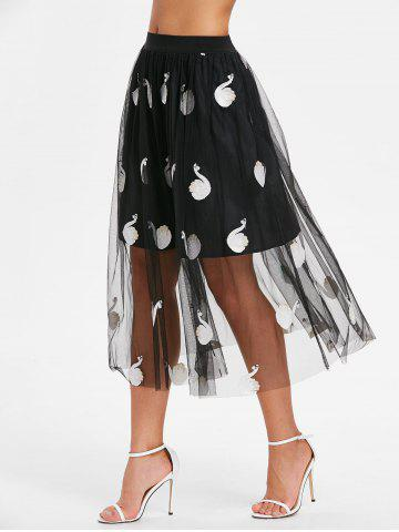 Outfits Swan Embroidery Mesh Overlay Skirt