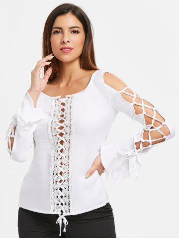 Lace Insert Lace Up Top