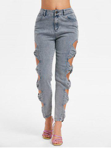 Affordable Bowknot Cut Side Fading Jeans