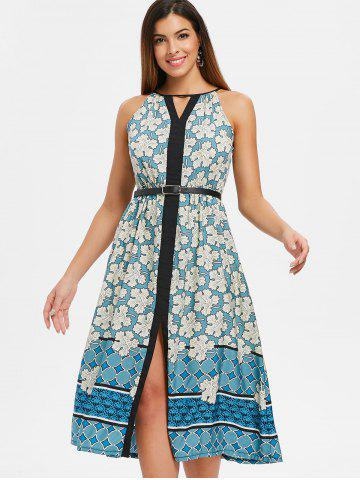 Cut Out Floral Print Midi A Line Dress