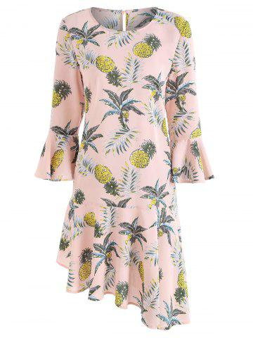 Flare Sleeve Flounce Pineapple Print Shift Dress