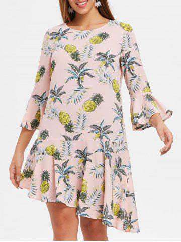 Hot Flare Sleeve Flounce Pineapple Print Shift Dress