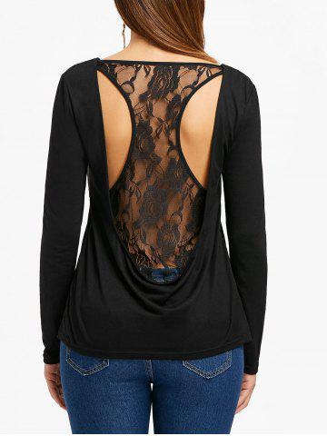 Hot Long Sleeve Racerback Lace Insert Top