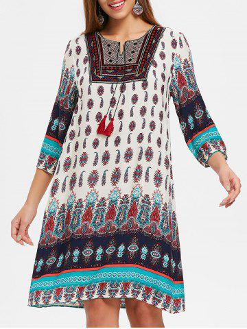 Chic Tribal Print Embroidered Dress