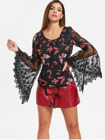 Butterfly Print Bell Sleeve Top