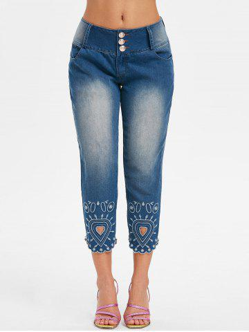 Embroidery Scalloped Jeans