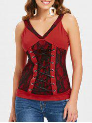 Lace-up Lace Insert Tank Top -