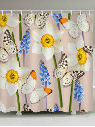 Butterfly and Flower Print Waterproof Bathroom Shower Curtain -
