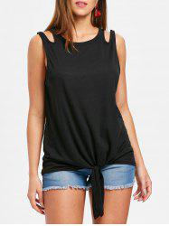 Round Neck Tie Front Tank Top -