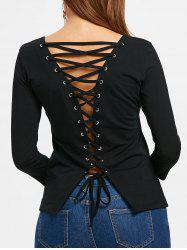 Round Neck Back Lace Up Top -