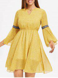 Open Back Flare Sleeve Print Dress -