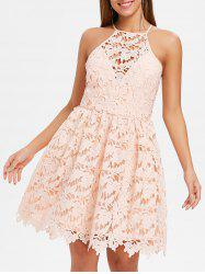 Bib Neck Lace Skater Dress -