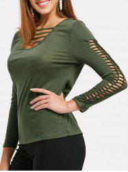 Front Ladder Cut Out Long Sleeve T-shirt -